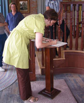 Cathy McMorris Rodgers signs the Harrington Opera House Guest Book