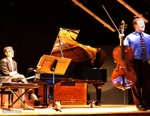 Darin Manica at piano & Kevin Hekmatpanah with cello on Harrington O.H. stage